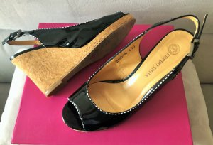 Wedge Sandals black leather