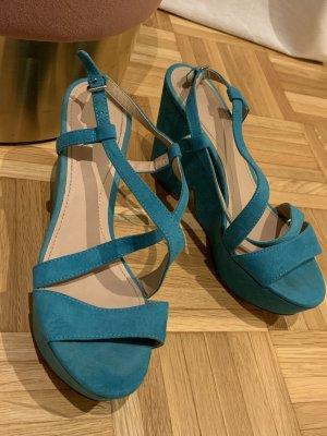 Zara Sandales à talons hauts et plateforme turquoise-bleu pétrole tissu mixte