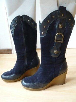 Keilstiefel, Marke: Alba Moda, Gr. 38, Ledermix, blau, getragen, guter Zustand