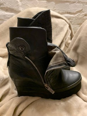 A.S.98 Wedge Booties black leather