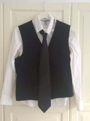 H&M Waistcoat black-white polyester