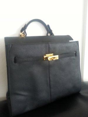 Kelly Style Handtasche echtes Leder schwarz