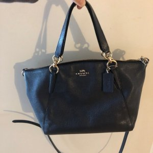 Coach Satchel dark blue-blue leather