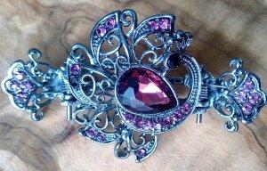 Barrette argenté-rose métal