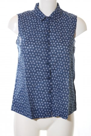 Ken ärmellose Bluse blau-weiß Allover-Druck Casual-Look