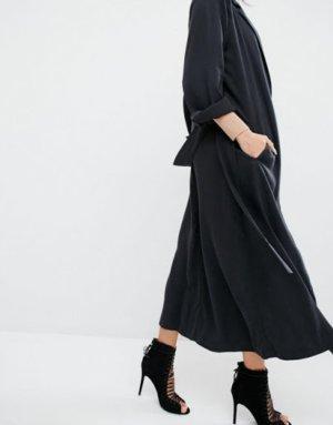 Kendall & Kylie Jenner Duster Coat Mantel schwarz Neu Tencel S Small