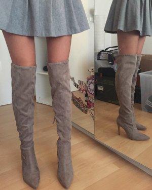 Kendall + Kylie Buty nad kolano jasnobrązowy Skóra
