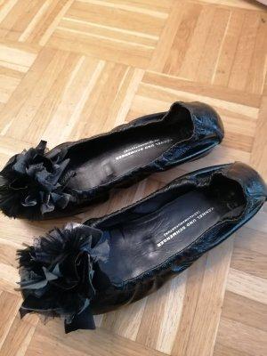 Lakleren ballerina's zwart Leer