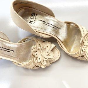 Kennel & Schmenger Peep Toe Pumps Sandalen mit Blumen Applikation Gr. 6 39 creme beige