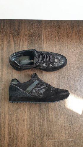Kennel & Schmenger Sneaker 38 schwarz Veloursleder Pailletten Plateau