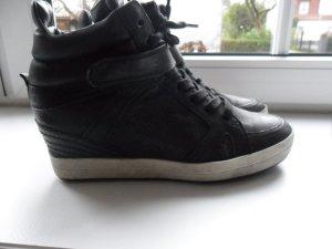 Kennel+Schmenger Sneaker, schwarz, Leder, Gr.39, Keilabsatz, used Look