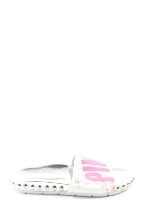 Kennel & Schmenger Strandsandalen zilver-roze gedrukte letters