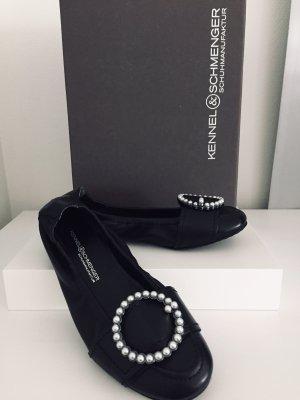 Kennel und Schmenger Ballerines à lacets noir-argenté cuir
