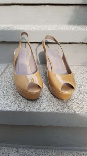 Kennel und Schmenger Plateau Peeptoes /Pumps in lack beige / 37