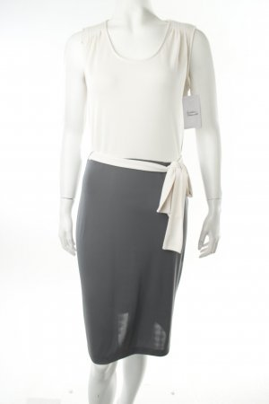 Kenneth Cole Jerseykleid weiß-khaki Colourblocking minimalistischer Stil