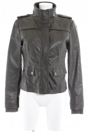 Kenneth Cole Lederjacke dunkelgrün Casual-Look