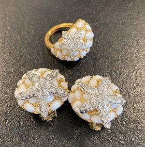 Kenneth Jay Lane Pendientes de clip blanco-color oro