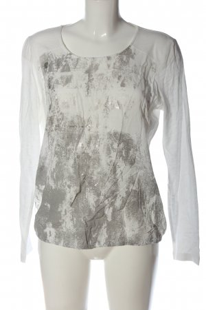 Kenny S. Langarm-Bluse weiß-hellgrau grafisches Muster Casual-Look