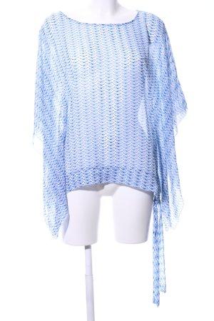Kenny S. Camicia a tunica blu-bianco motivo astratto stile professionale