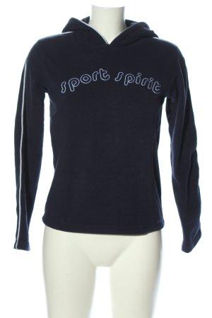 Kenvelo Maglione con cappuccio blu-bianco caratteri ricamati stile casual