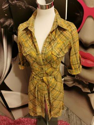 KENVELO ♥ Tailliertes Blusenkleid, Longbluse/hemd, mit Bindegürtel - Gr. 32/34 XS