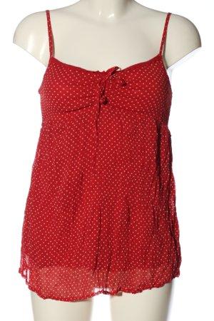 Kenvelo Canotta a bretelle rosso-bianco sporco motivo a pallini stile casual