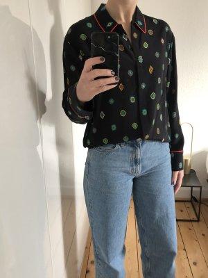 Kenzo by H&M Bluse Shirt Seide Ornamente Paisley schwarz Trend Neu