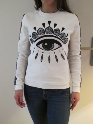 Kenzo Eye Sweatshirt Pullover Longshirt Auge Weiss Shirt S 34 NEU Iconic
