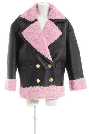 Kenzo H&M Lederjacke schwarz-pink extravaganter Stil