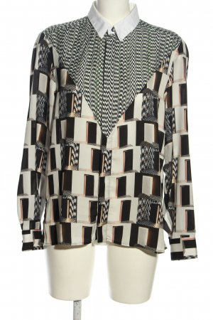 Kenzo Seidenbluse weiß-schwarz abstraktes Muster Casual-Look