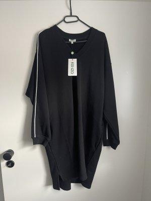 Kenzo Vestido de tela de sudadera negro-blanco Algodón