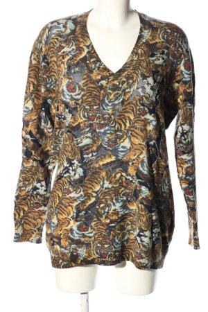 Kenzo V-Ausschnitt-Pullover braun-blau Allover-Druck Casual-Look