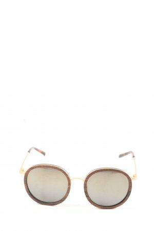 Kerbholz Round Sunglasses brown-gold-colored casual look