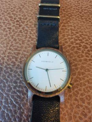 Kerbholz Uhr braun schwarz