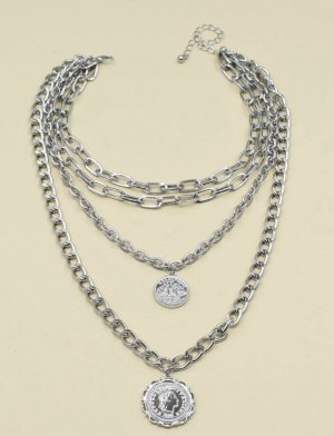 100% Fashion Srebrny łańcuch jasnoszary