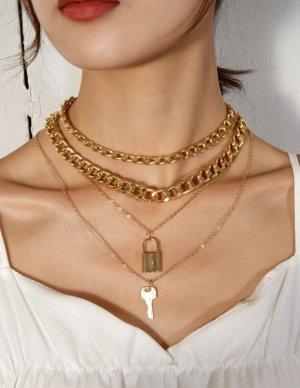100% Fashion Złoty łańcuch żółty