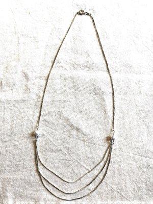 Cadena de plata color plata-blanco