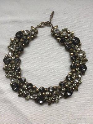 Zdobiony naszyjnik srebrny-ciemnoszary