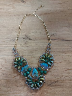 Pearl Necklace forest green-cadet blue