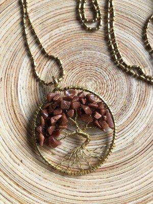 Kette Anhänger Messing Lebensbaum 3,8 cm Halbedelsteine Goldfluss