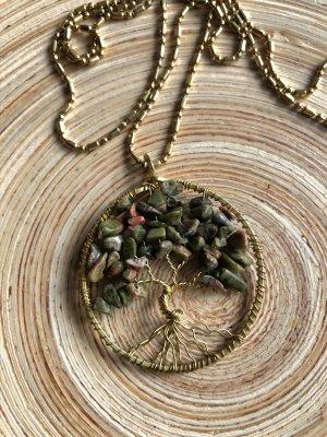 Kette Anhänger Messing Lebensbaum 3,8 cm Halbedelsteine waldgrün