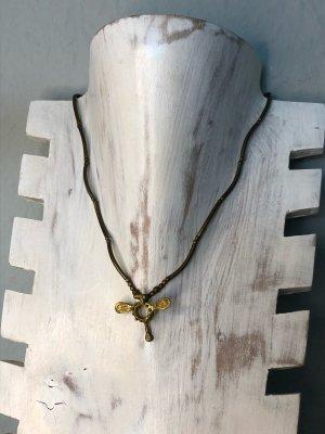 Handmade Collar marrón oscuro-color oro Algodón