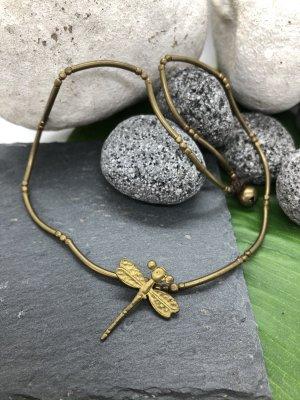 Kette Anhänger Messing Libelle 3x2,2cm Baumwollbändchen gewachst 35cm Einzelstück