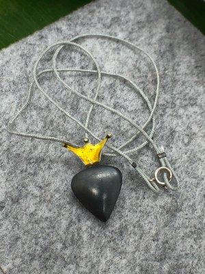 Kette Anhänger Silber 925 teilgeschwärzt Herz mit Krone emailliert 2,6x1,6 cm
