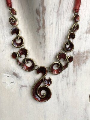 Handmade Naszyjnik złoto-głęboka czerwień Bawełna