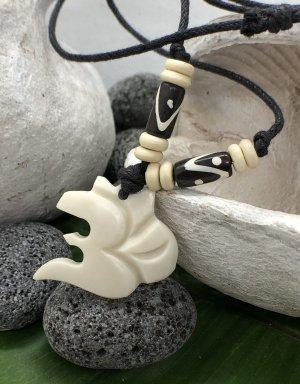 Kette Anhänger Yak Bone Om Symbol 3x3,7cm cremefarben Baumwollband schwarz
