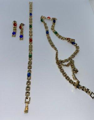KETTE - ARMBAND - OHRRINGE - goldfarben mit Steinchen - verblüffend!