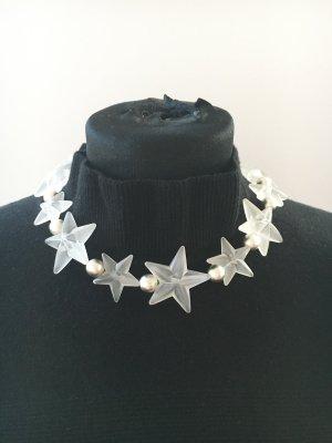 Collar estilo collier color plata-blanco puro Material sintético