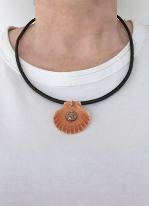 no name Shell Necklace black-brown leather