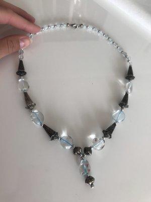 Kette durchsichtige Hellblaue Steine Silber